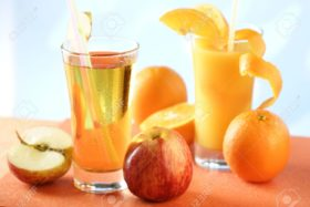 939796-Glass-of-apple-juice-and-orange-juice-Stock-Photo