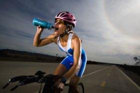 Triathlete Drinking from Water Bottle