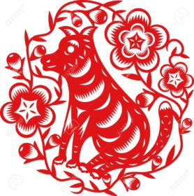 15427049-chinese-year-of-dog-puppy-made-by-traditional-chinese-paper-cut-arts-Stock-Vector