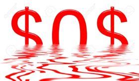 7870704-dollar-sinking-with-sos-signal
